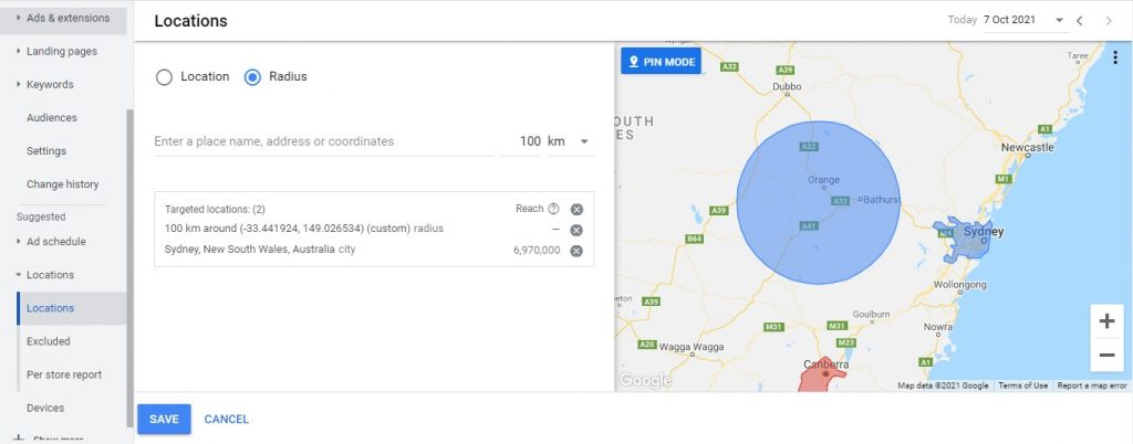google ads location setting snapshot
