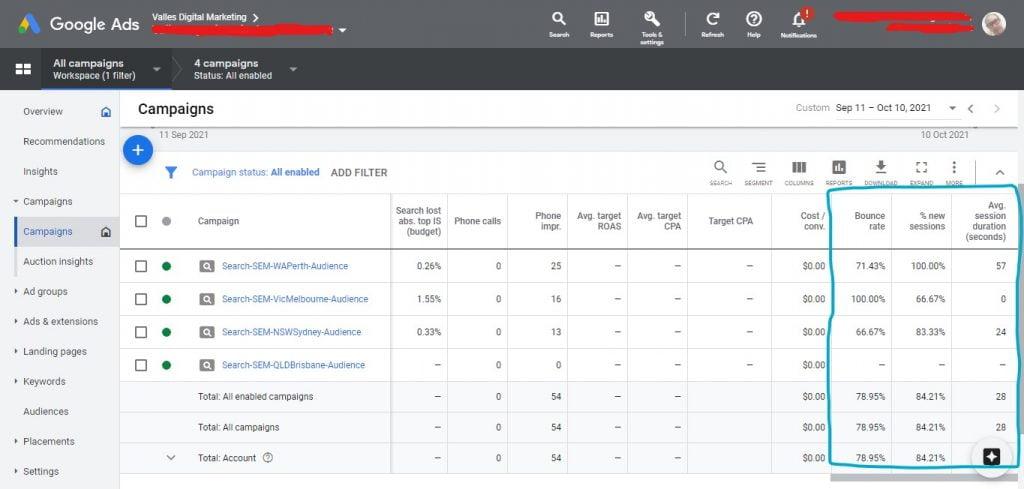Google Analytics data in Google Ads snapshot