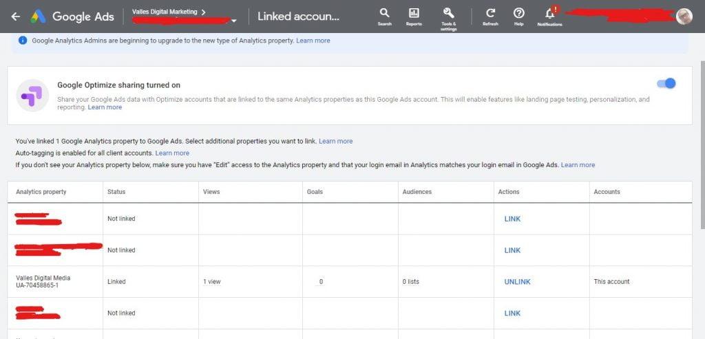Google Analytics link to Google Ads snapshot